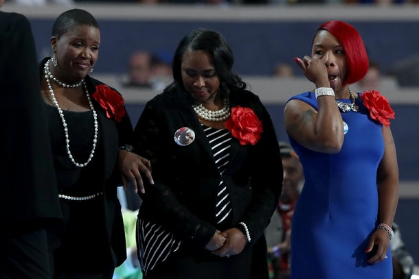 PHILADELPHIA, PA - JULY 26:  Mothers of the Movement (L-R)  Cleopatra Pendleton-Cowley, mother of Hadiya Pendleton; Wanda Johnson, mother of Oscar Grant; and Lezley McSpadden, Mother of Mike Brown stand on stage prior to delivering remarks on the second day of the Democratic National Convention at the Wells Fargo Center, July 26, 2016 in Philadelphia, Pennsylvania. Democratic presidential candidate Hillary Clinton received the number of votes needed to secure the party's nomination. An estimated 50,000 people are expected in Philadelphia, including hundreds of protesters and members of the media. The four-day Democratic National Convention kicked off July 25.  (Photo by Jessica Kourkounis/Getty Images)
