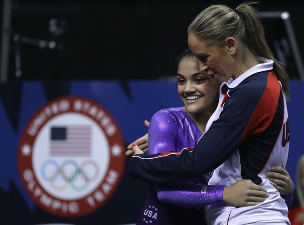 SAN JOSE, CA - JULY 08:  Lauren Hernandez with Maggie Haney after competing on the balance beam during day 1 of the 2016 U.S. Olympic Women's Gymnastics Team Trials at SAP Center on July 8, 2016 in San Jose, California.  (Photo by Ronald Martinez/Getty Images)