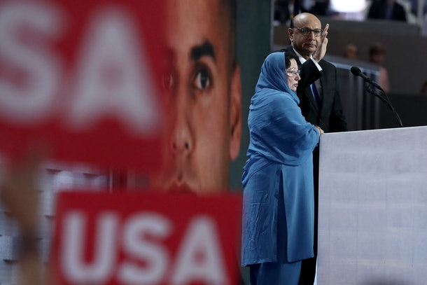 PHILADELPHIA, PA - JULY 28:  Khizr Khan, father of deceased Muslim U.S. Soldier Humayun S. M. Khan, delivers remarks on the fourth day of the Democratic National Convention at the Wells Fargo Center, July 28, 2016 in Philadelphia, Pennsylvania. Democratic presidential candidate Hillary Clinton received the number of votes needed to secure the party's nomination. An estimated 50,000 people are expected in Philadelphia, including hundreds of protesters and members of the media. The four-day Democratic National Convention kicked off July 25.  (Photo by Jessica Kourkounis/Getty Images)