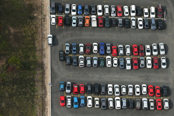 SYDNEY, AUSTRALIA - APRIL 28:  A view of a carpark from a blimp on April 28, 2016 in Sydney, Australia. The Appliances Online blimp is the only operational blimp in the Southern Hemisphere flying all over Australia. It is currently based in Sydney navigating a variety of routes across the city and down the Eastern coastline.  (Photo by Cameron Spencer/Getty Images)