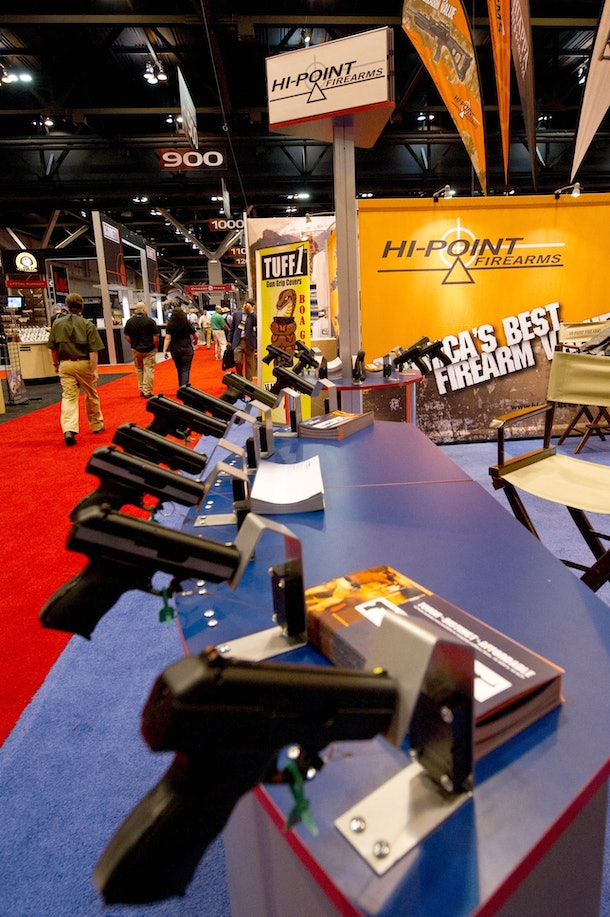 Hi-Point handguns are on display at the National Rifle Association (NRA) Annual Meetings and Exhibits on April 14, 2012 in St. Louis, Missouri.  AFP PHOTO / Karen BLEIER (Photo credit should read KAREN BLEIER/AFP/Getty Images)