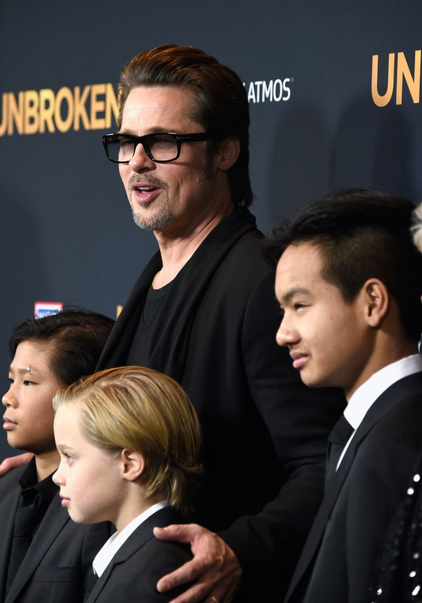 HOLLYWOOD, CA - DECEMBER 15:Actor Brad Pitt (C), (L-R) Pax Thien Jolie-Pitt, Shiloh Nouvel Jolie-Pitt,, Maddox Jolie-Pitt,  arrive at the Premiere Of Universal Studios' 'Unbroken' at TCL Chinese Theatre on December 15, 2014 in Hollywood, California.  (Photo by Frazer Harrison/Getty Images)
