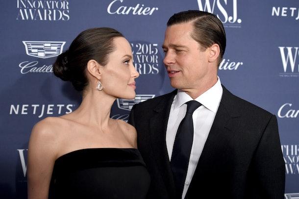 NEW YORK, NY - NOVEMBER 04:  2015 Entertainment Innovator Angelina Jolie Pitt (L) and Brad Pitt attend the WSJ. Magazine 2015 Innovator Awards at the Museum of Modern Art on November 4, 2015 in New York City.  (Photo by Dimitrios Kambouris/Getty Images for WSJ. Magazine 2015 Innovator Awards)