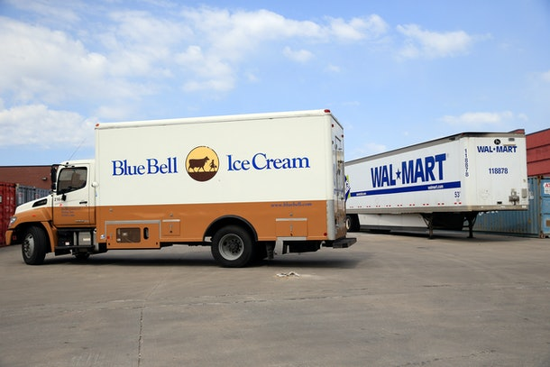 OVERLAND PARK, KS - APRIL 21:  A Blue Bell Ice Cream truck is seen outside a Wal-Mart store on April 21, 2015 in Overland Park, Kansas. Blue Bell Creameries recalled all products following a Listeria contamination. (Photo by Jamie Squire/Getty Images)