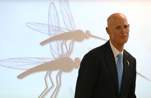 MIAMI, FL - AUGUST 22:  Florida Governor Rick Scott visits Jose De Diego Middle School on the first day of school in the Wynwood neighborhood where the mosquito born Zika virus has been found on August 22, 2016 in Miami, Florida. Miami's Wynwood neighborhood along with Miami Beach have been found to have cases of people with the mosquito born Zika virus as South Florida continues to work on controlling the outbreak.  (Photo by Joe Raedle/Getty Images)