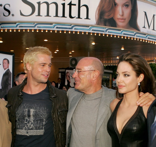 WESTWOOD, CA - JUNE 07:  (L-R) Actor Brad Pitt, Producer Arnon Milchan and actress Angelina Jolie arrive at the premiere of 'Mr. & Mrs. Smith' at the Mann Village Theater on June 7, 2005 in Westwood, California.  (Photo by Kevin Winter/Getty Images)