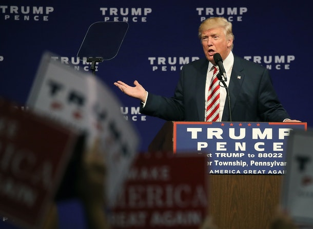 ASTON, PA - SEPTEMBER 22:  Republican presidential nominee Donald Trump speaks during a campaign rally at the Sun Center Studios, September 22, 2016 in Aston, Pennsylvania. A national poll released yesterday shows Trump trailing Democratic rival Hillary Clinton by 6 points in a four-way matchup.   (Photo by Mark Wilson/Getty Images)