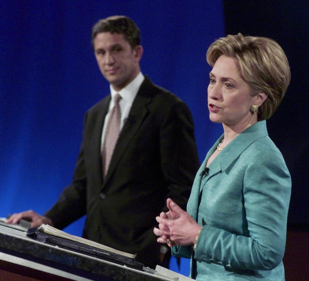 BUFFALO, NY - SEPTEMBER 13:  US first lady Hillary Rodham Clinton (R) speaks during her first debate in the New York State Senate race with US Senate candidate Rep. Rick Lazio (L), R-NY, at the WNED-TV studios, 13 September 2000, in Buffalo, New York.  (Photo credit should read RICHARD DREW/AFP/Getty Images)