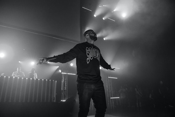 ATLANTA, GA - JULY 22:  (EDITORS NOTE: Image has been converted to black and white)  Drake performs on stage at Gucci and Friends Homecoming Concert at Fox Theatre on July 22, 2016 in Atlanta, Georgia.  (Photo by Paras Griffin/Getty Images for Atlantic Records)