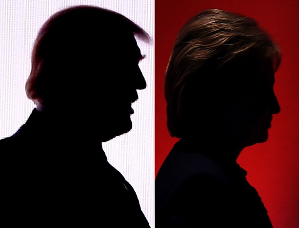 This combination of file photos shows the silhouettes of Republican presidential nominee Donald Trump(R)July 18, 2016 and Democratic presidential nominee Hillary Clinton on February 4, 2016. Hillary Clinton and Donald Trump prepared to square off September 26, 2016 in their first presidential debate -- a keenly awaited clash that comes as they sit nearly neck and neck in the polls. The debate, which is expected to be watched by tens of millions of Americans, could draw a record number of viewers when it kicks off at 9:00 pm EST (0100 GMT Tuesday).  / AFP / DESK        (Photo credit should read DESK/AFP/Getty Images)