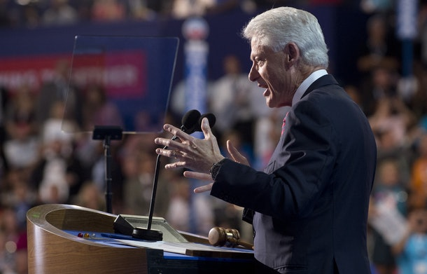 Former US President Bill Clinton speaks during the Democratic National Convention (DNC) at the Time Warner Cable Arena in Charlotte, North Carolina, on September 5, 2012.     AFP PHOTO / Saul LOEB        (Photo credit should read SAUL LOEB/AFP/GettyImages)