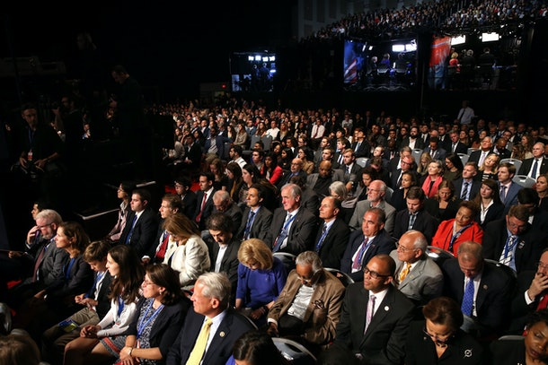 HEMPSTEAD, NY - SEPTEMBER 26:  People sit ahead of the Presidential Debate between Democratic presidential nominee Hillary Clinton and Republican presidential nominee Donald Trump at Hofstra University on September 26, 2016 in Hempstead, New York.  The first of four debates for the 2016 Election, three Presidential and one Vice Presidential, is moderated by NBC's Lester Holt.  (Photo by Spencer Platt/Getty Images)