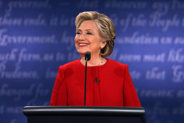 HEMPSTEAD, NY - SEPTEMBER 26:  Democratic presidential nominee Hillary Clinton smiles during the Presidential Debate at Hofstra University on September 26, 2016 in Hempstead, New York.  The first of four debates for the 2016 Election, three Presidential and one Vice Presidential, is moderated by NBC's Lester Holt.  (Photo by Spencer Platt/Getty Images)