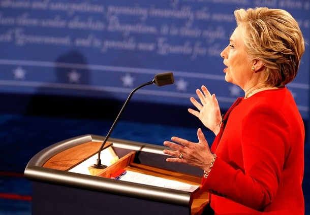 HEMPSTEAD, NY - SEPTEMBER 26:  Democratic presidential nominee Hillary Clinton speaks during the Presidential Debate at Hofstra University on September 26, 2016 in Hempstead, New York.  The first of four debates for the 2016 Election, three Presidential and one Vice Presidential, is moderated by NBC's Lester Holt.  (Photo by Pool/Getty Images)