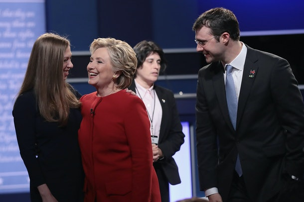 HEMPSTEAD, NY - SEPTEMBER 26:  Democratic presidential nominee Hillary Clinton (C) talks with daughter, Chelsea Clinton (L) and her husband Marc Mezvinsky (R) after the Presidential Debate with Republican presidential nominee Donald Trump at Hofstra University on September 26, 2016 in Hempstead, New York.  The first of four debates for the 2016 Election, three Presidential and one Vice Presidential, is moderated by NBC's Lester Holt.  (Photo by Drew Angerer/Getty Images)