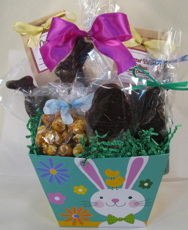 Where to buy easter baskets online so you can make sunday morning 9the vegan option bunnies and chick basket negle Images