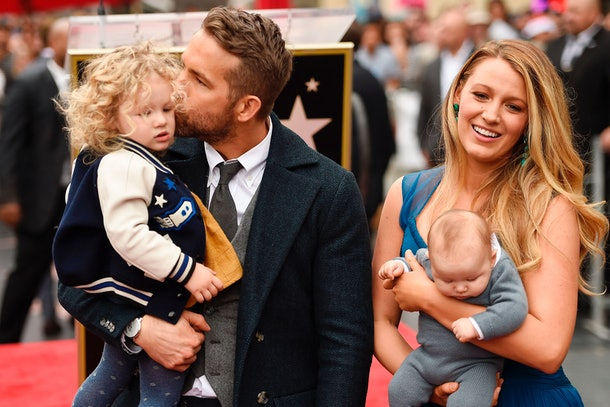 Ryan Reynolds with daughter James, wife Blake Lively, and baby Inez in April 2018 at the Hollywood Walk of Fame