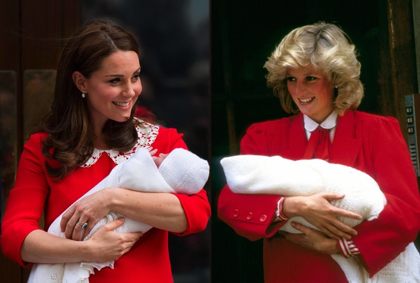 The red dress with a lace collar Kate Middleton wore after Prince Louis was born strongly resembled the dress Princess Diana wore after giving birth to Prince Harry in 1984.