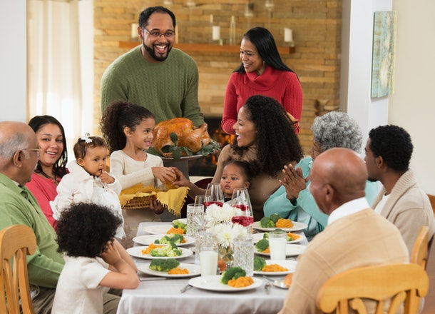 Experts say turkey can be served to your baby on Thanksgiving if they're already pretty good at chewing, and it's served in small pieces.