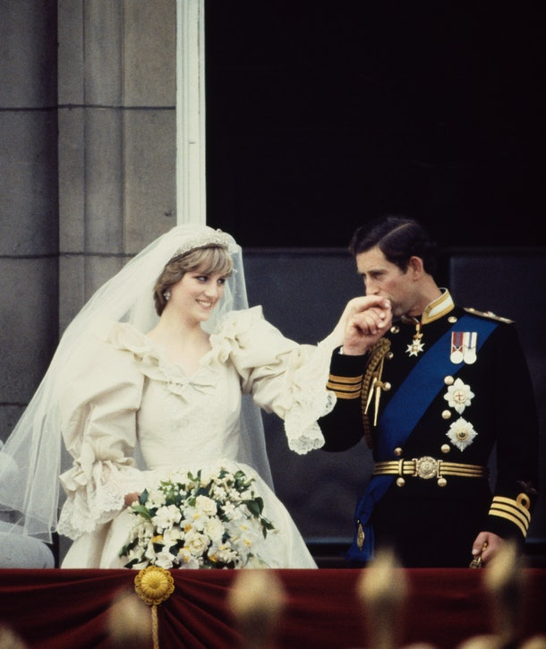 Princess Diana looked deeply in love on the balcony of Buckingham Palace on her wedding day.