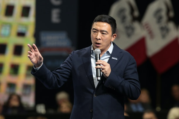 Andrew Yang has said he supports providing parents with at least six months of paid family leave.