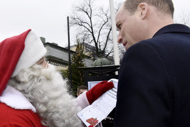 Prince William delivered a letter from Prince George to Santa Claus in 2017