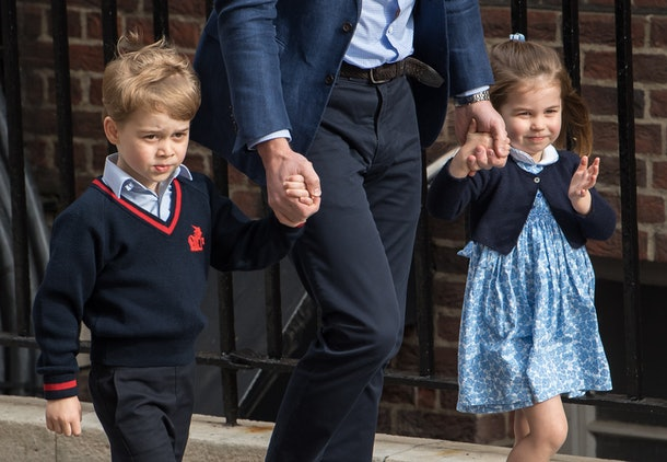 Princess Charlotte waves to her fans on the way to meet baby brother Prince Louis while Prince George is more reserved.