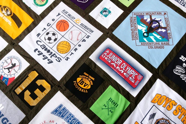 A t-shirt quilt is one fun way to preserve your kid's childhood.