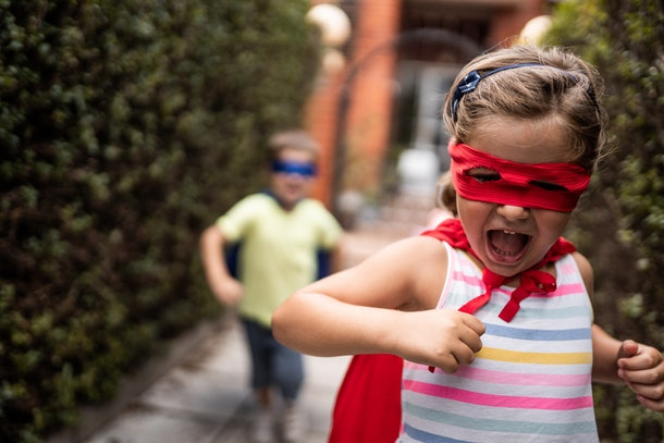 Having your child imagine they are a superhero is one way to encourage your child to be brave.