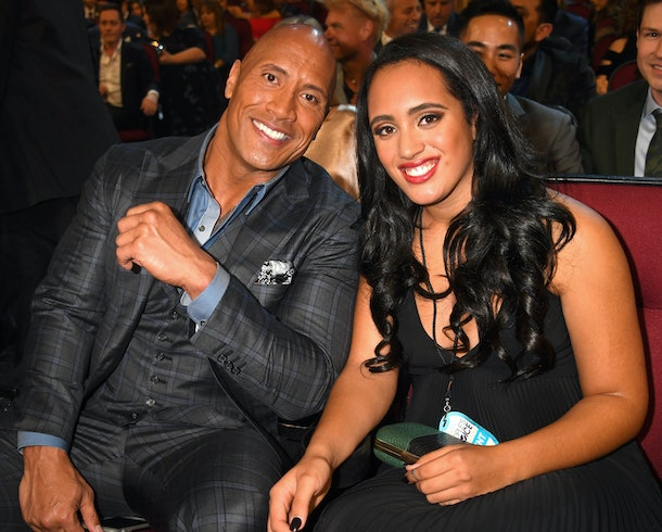 Dwayne Johnson flew thousands of miles to spend Valentine's Day with daughter Simone.