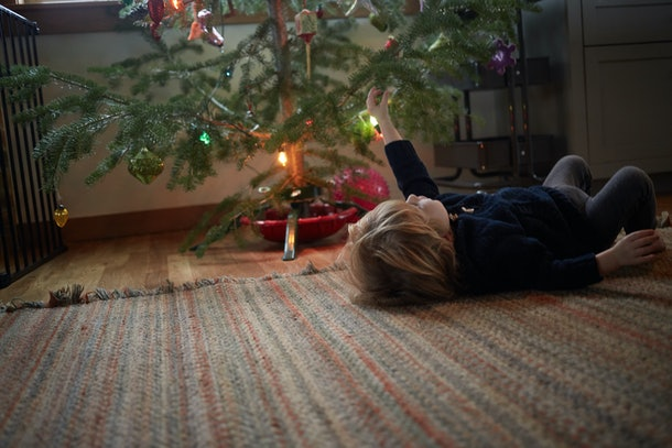 Christmas tree sap can also come off of rugs with a little elbow grease.