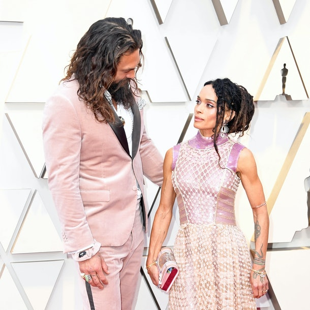 Jason Momoa & Lisa Bonet Matched In Pink At The Oscars