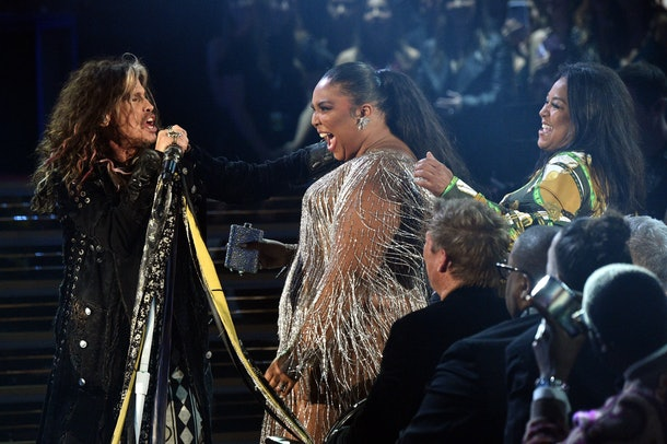 Lizzo and Steve Tyler had a real moment at the Grammys.