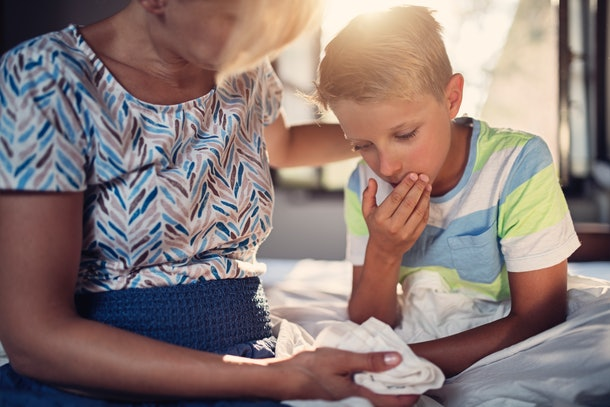 Experts say that when your kid pukes phlegm, they're getting rid of built up mucous.