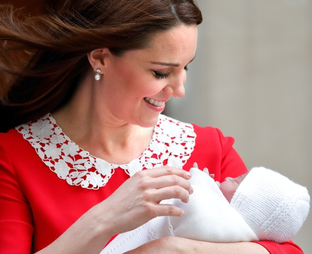 Kate Middleton cradles a newborn Prince Louis outside St. Mary's Hospital in Paddington, London, in April 2018.