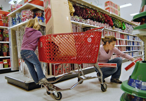 Woman shops in target with daughter