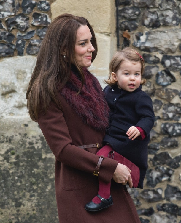Princess Charlotte is dressed in a pint-sized peacoat