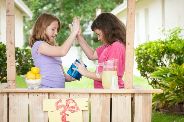 Having a lemonade stand is a great summer activity for kids at home.