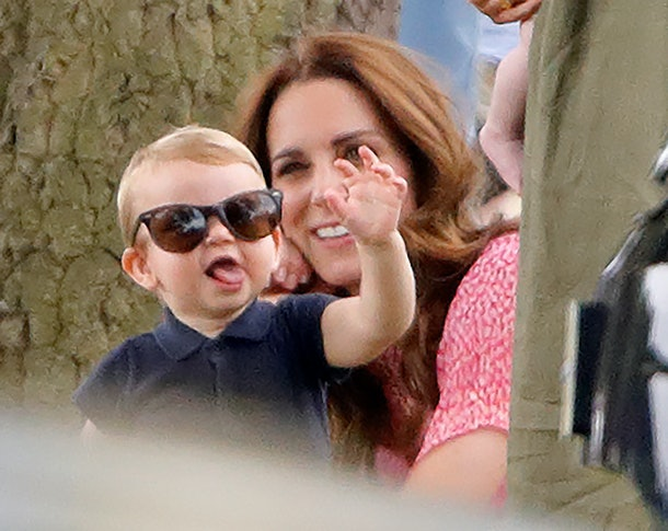 Kate Middleton gets a kick out of Prince Louis wearing sunglasses.