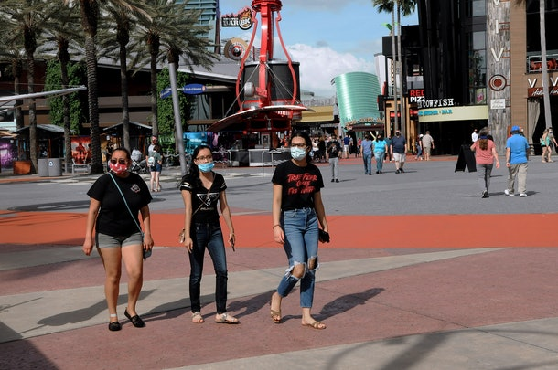 Guests will now be required to wear a mask and have their temperature taken before entering Universal CityWalk in Orlando, Florida.