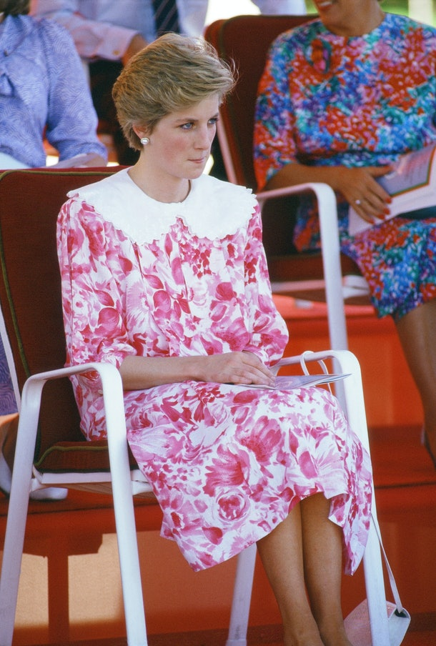 Princess Diana in a sweet pink and white dress in 1986.