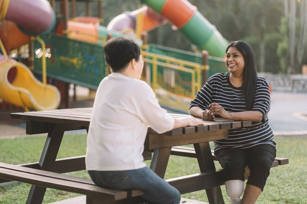 Talking frankly about social distancing practices with friends that have kids can help put you both at ease.