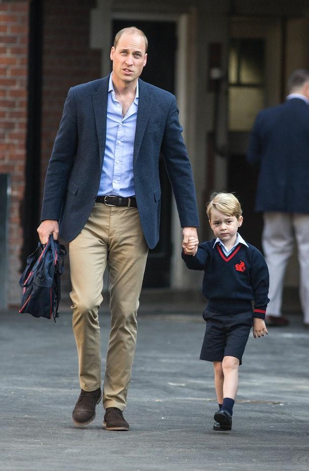 Prince William brings Prince George to school.