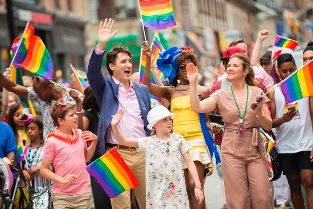 Canadian Prime Minister Justin Trudeau and his family march in a Pride celebration