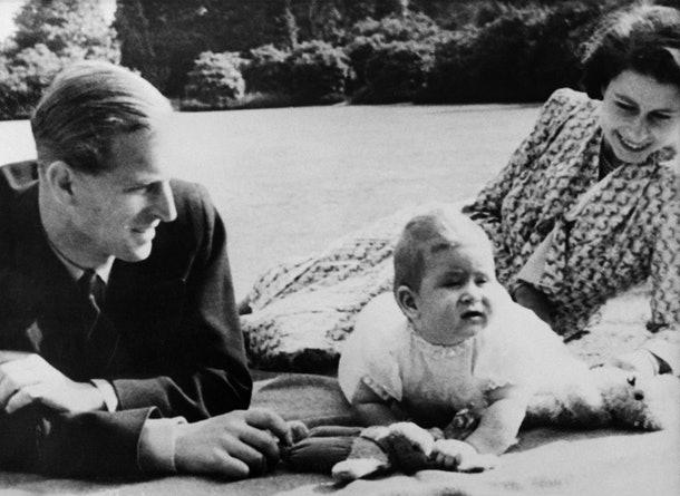 Prince Charles is the apple of his parents' eye in 1949.