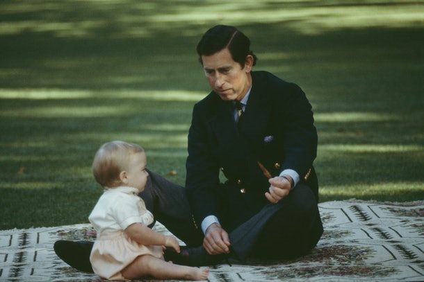 Prince Charles gets down in the grass with his son.