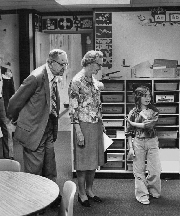 This vintage back to school photo shows a child introducing themselves to a new class.