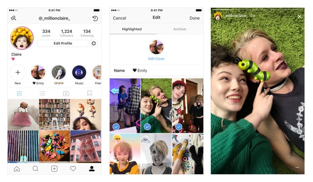 Snapshot of Instagram's Stories Highlights Tool