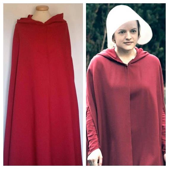 Womens Handmaids Tale Costume Red Cloak Robe and Bonnet Halloween Fancy Dress