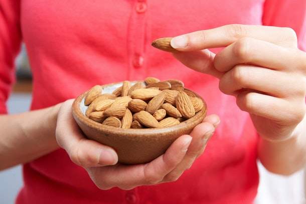 close up shot of bowl of almonds
